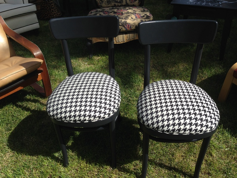 Pair Reupholstered Houndstooth Chairs