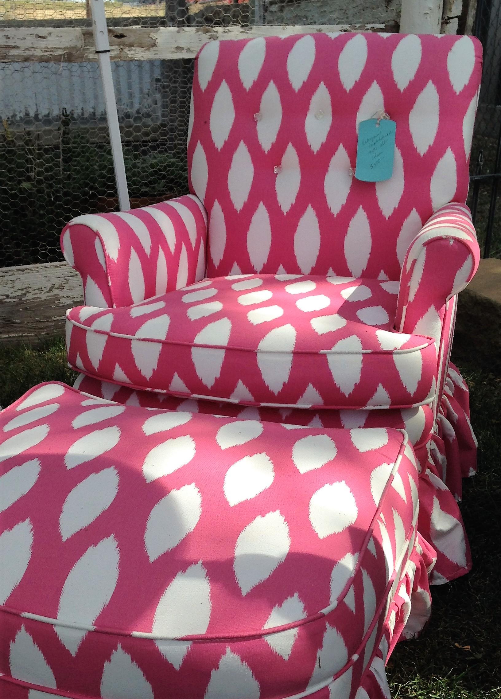 Pink & White Chair & Ottoman