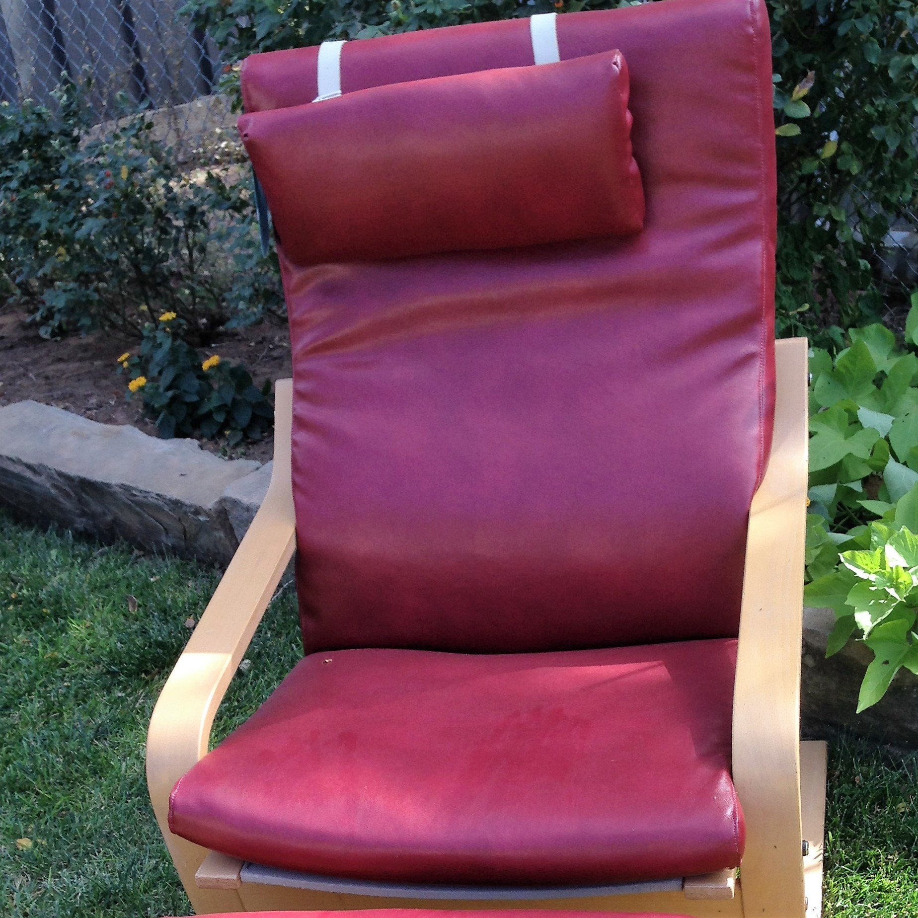 Red Leather IKEA Chair & Ottoman